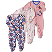 Exemaba Baby Footed Onesies Overall - Cotton Baby Girls Footies Pajamas Sleeper Infant Sleep and Play (0-3 Months, Sun Flower)