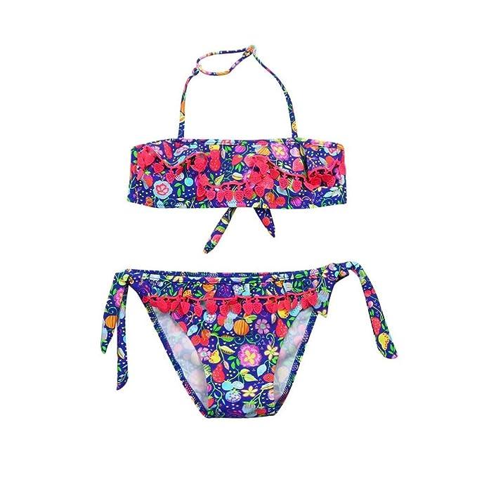 77d2f738de Kaiki Girls Tassel Swimwear Infant Kid Strawberry Fruit Print Swimsuit  Bikini Set Outfits: Amazon.co.uk: Clothing