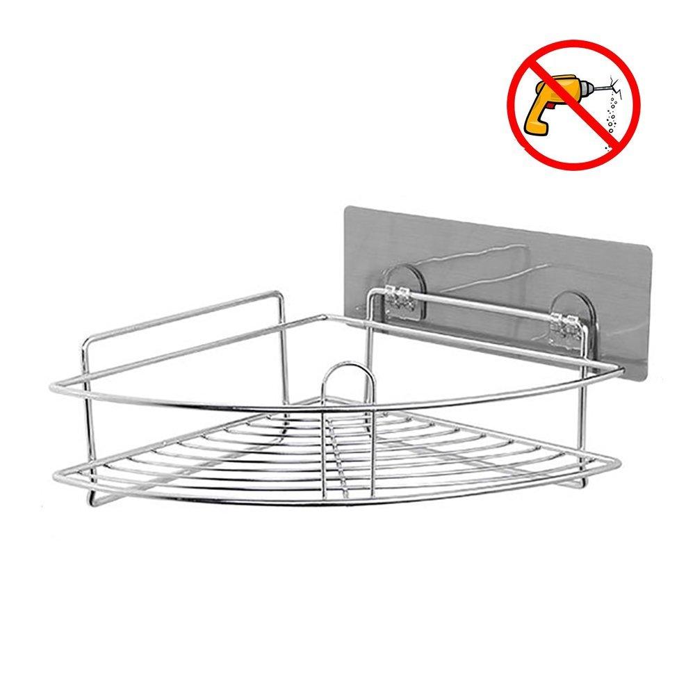 HEBE Adhesive Corner Bathroom Shelf Shower Caddy Wall Mounted Triangle Storage Organizer Basket for Kitchen Bathroom Shampoo Conditioner, Rustproof 304 Stainless Steel