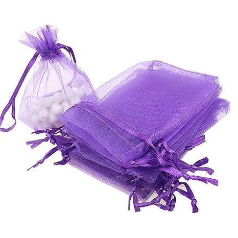 UNHO 100 Piezas Bolsas de Organza para Boda Bolsitas Transparentes para Joyas Regalos Recuerdos Caramelos Dulces Fiestas 7 x 9cm Color Púrpura