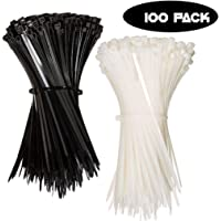 St. Lun Nylon Zip Ties (PACK OF 100) Cable Ties Strength Tie Wraps for Tying Cables, Wires, Organization (Color : Black, Size : 100Pcs(Size 3x150mm))