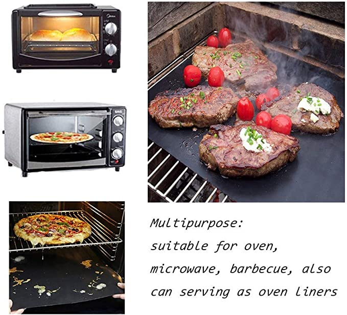 XDL Set of 5 Oven Liner BBQ Grill Mats Non Stick Reusable BBQ Baking Sheets For Gas Charcoal Electric Grill-Anti detention Heat Resistance Barbecue Grill Mats For Fan Assisted Ovens