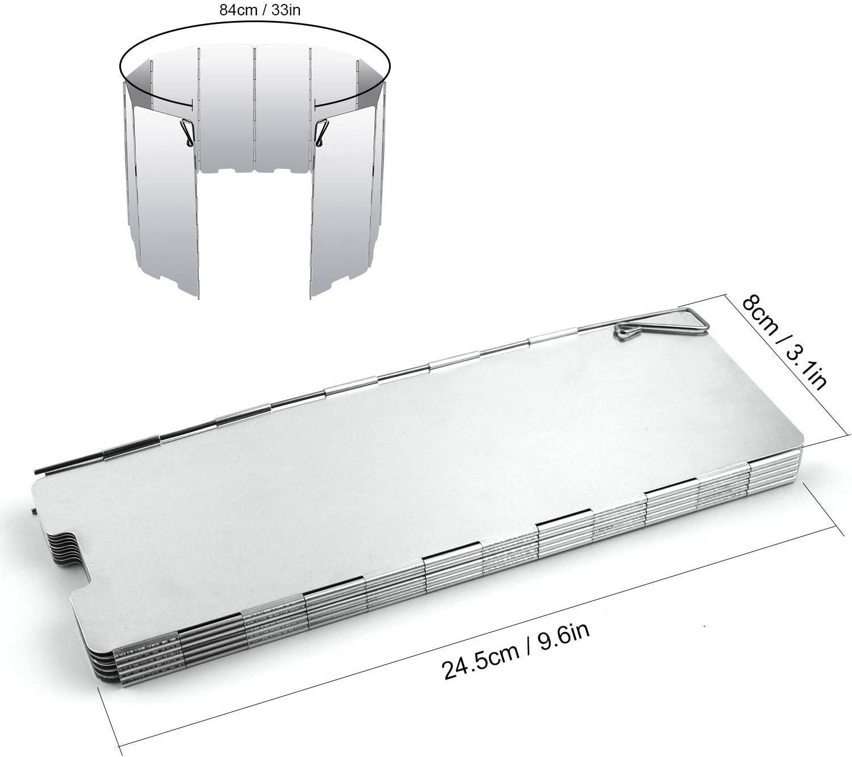 LIOOBO Parabrisas de 9 Platos Parrilla Plegable Estufa Parabrisas Pantalla de Viento para Camping Picnic Silver