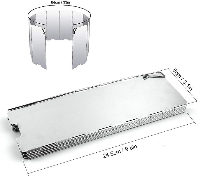 Diswoe 10 Placas Parabrisas Plegable para Camping Cocina Estufa de Gas Escudo Pantalla de Viento Cortavientos al Aire Libre