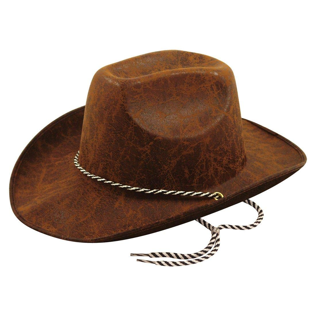 a9eaca20894 Rimi Hanger Mens Womens Leather Look Dark Brown Cowboy Hat Adults Party  Headwear Accessories One Size Fits Most at Amazon Men s Clothing store