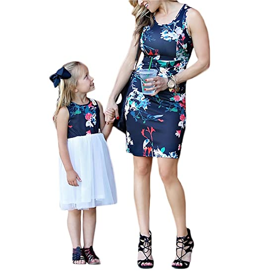 a6c2c74fa350 Mother Daughter Matching Outfits Dresses High Waist Floral Sundress Family  Matching Clothes (Floral-Mother