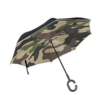 Mi Diario Doble Capa Paraguas invertido coches Reverse paraguas resistente al viento de camuflaje UV prueba