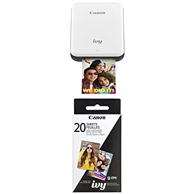 Canon IVY Mobile, Portable Mini Photo Printer, Slate Gray with Zink Photo Paper Pack, 20 sheets