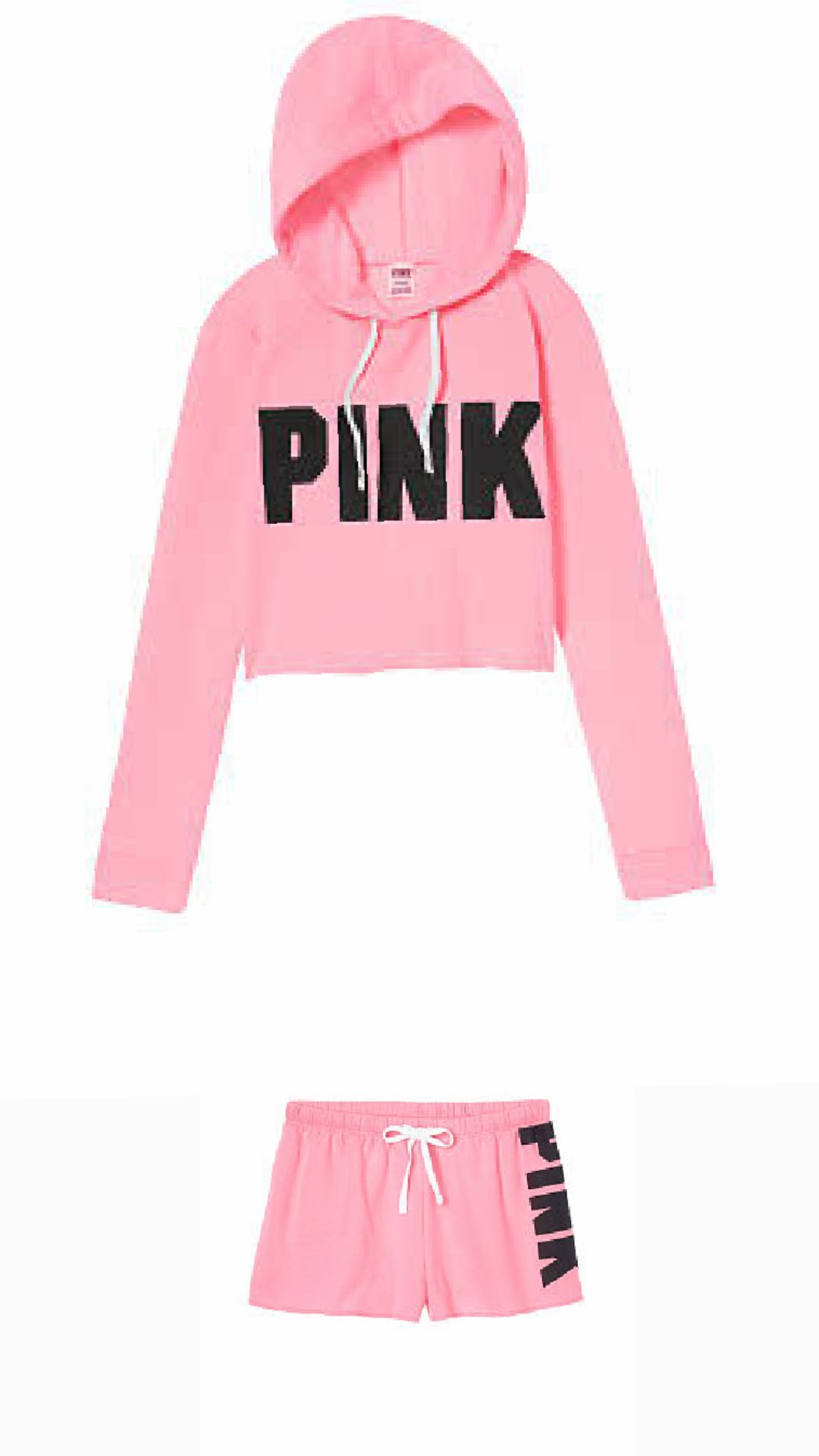 Pink Cropped Cutoff Pullover With Pink Classic Short Medium Size.