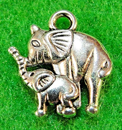 10Pcs. Tibetan Silver Elephant & Baby Charm Pendant Earring Drops Findings AN070 Crafting Key Chain Bracelet Necklace Jewelry Accessories Pendants - Nfl Solid Earrings