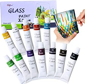 Happlee Stained Glass Paint 12 Colors Non-Toxic Window Paint Acrylic Enamel Paint Transparent Glass Paint Supplies for Porcelain Window, Wine Bottle (0.41 fl.oz)