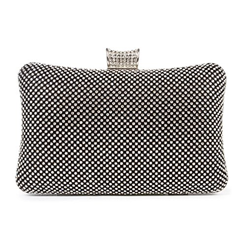 KISSCHIC Crystal Evening Bags Rhinestone Black Clutch Purse for Women