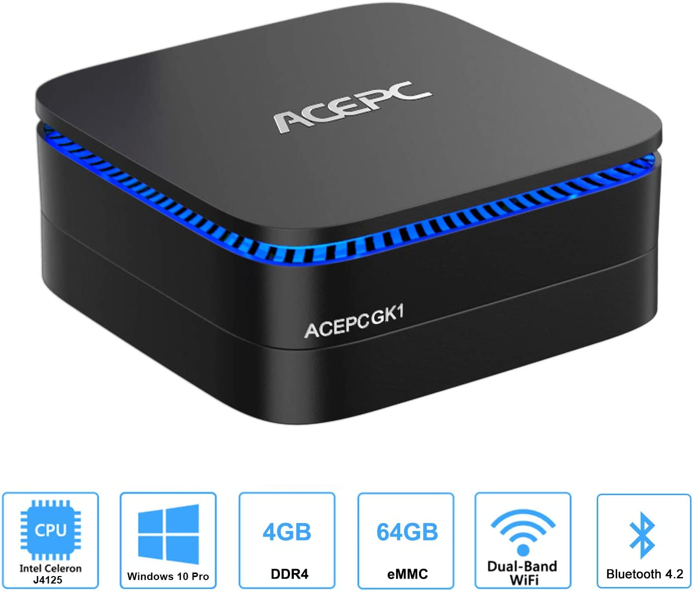 Mini PC, GK1 Plus Mini Computer Intel Gemini Lake Celeron J4125 Windows 10 Pro(64 bit) Desktop Computer,4K@60fps,4GB DDR4/64GB, Dual Wi-Fi, Gigabit Ethernet, Bluetooth 4.2[Upgraded]