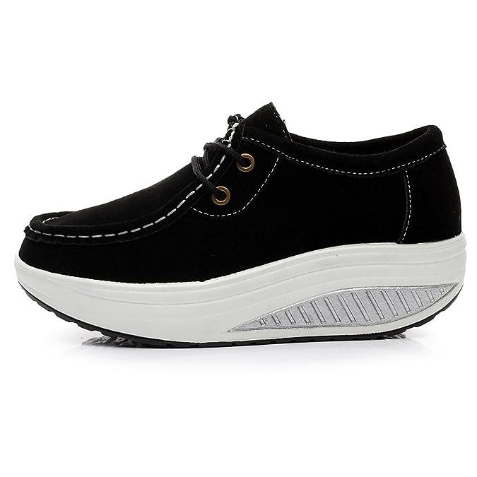 Shenn Femme Cu Talon? Un Confort À La Mode En Cuir Chaussures De Sport (brun, Eu37)