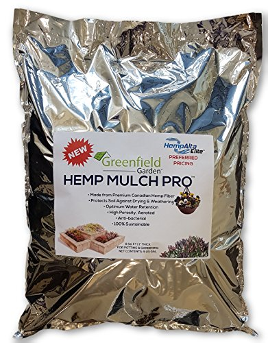 Greenfield Garden Hemp Mulch Pro- Premium Organic Indoor Plant Mulch: Protects Against Drying, Optimal Water Retention, Covers Soil & Lightweight