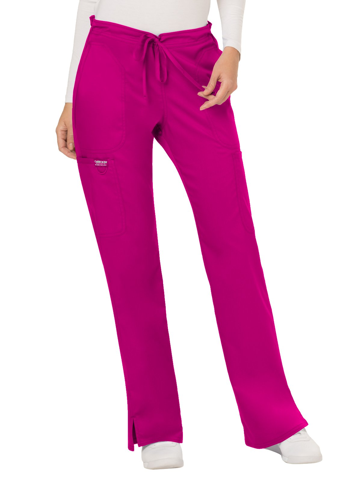 Cherokee Revolution Workwear Women's Drawstring Flare Scrub Pant Small Petite Pink Azalea