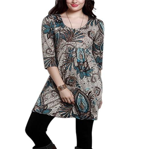 005b480f941c98 Amazon.com  Yeyemet Womens 3 4 Sleeve Shirts Empire Waist Petite Print Tunic  Tops  Clothing
