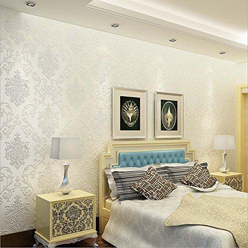 QIHANG European Style Luxury 3D Damask Pearl Powder Non-woven Wallpaper Roll Cream-white Color 0.53m x 10m=5.3㎡ by QIHANG (Image #2)