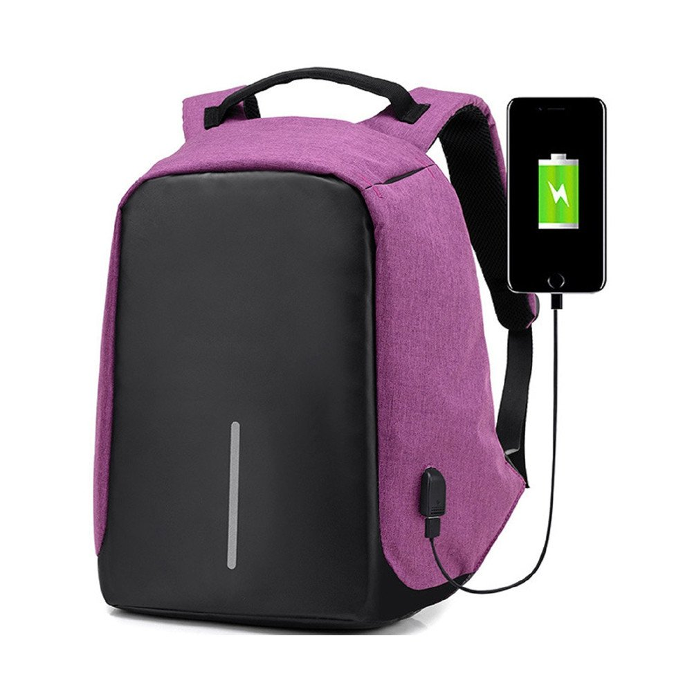 85%OFF Tanchen Waterproof Anti-theft Travel Backpack Business Laptop Book School Bag with USB Charging Port For College Students Men Women (Purple)