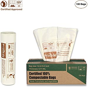 Primode 100% Compostable 2.6 Gallon Food Scraps Yard Waste Bags, 100 Count, Extra Thick 0.71 Mil. Biodegradable Compost Bags ASTMD6400 Small Kitchen Bin Trash Bags, BPI and VINCETTE Certified,White