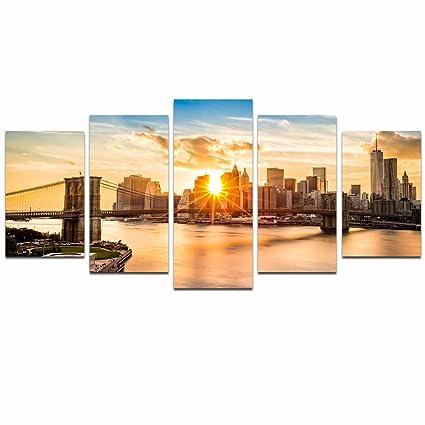 Amazon.com: Live Art Decor- 5 Panel Modern Canvas Wall Art, New York ...