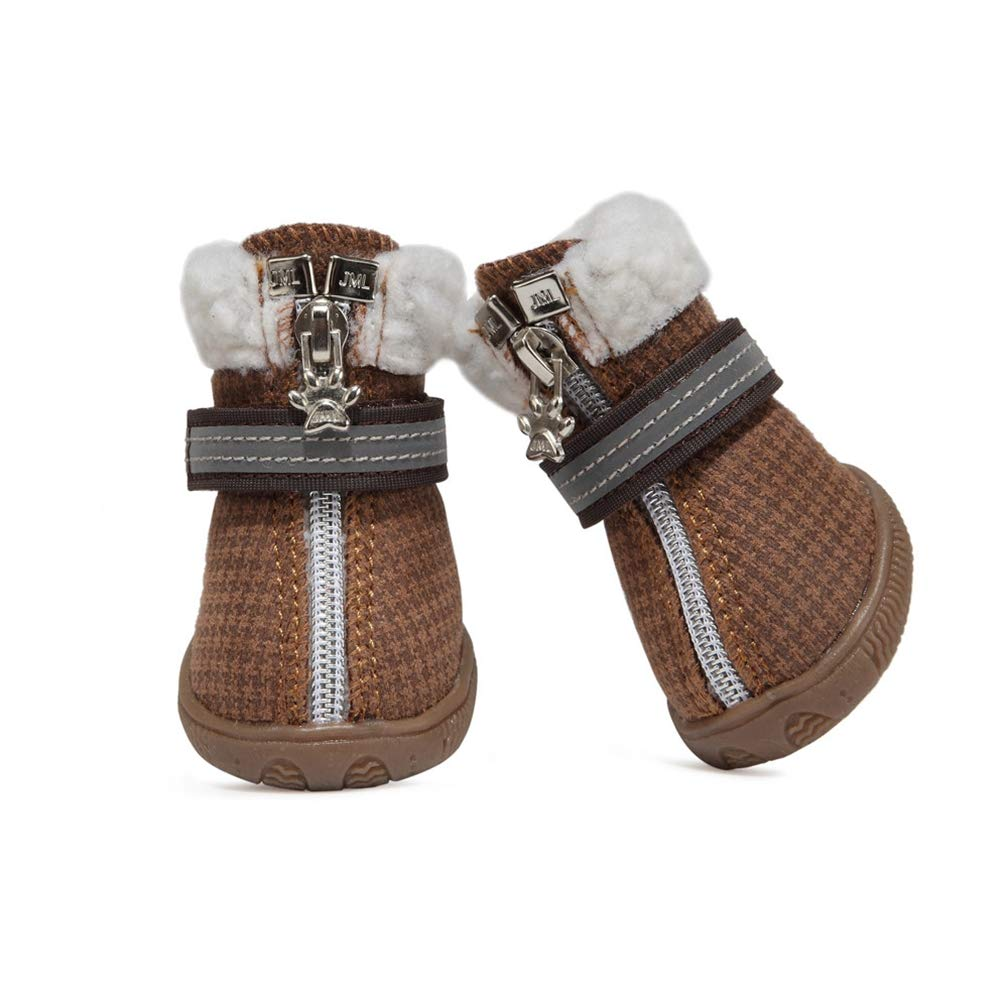 Brown 3 Brown 3 Pet Dog shoes Boots,Winter Warm Outdoor Sports Warm Non Slip Puppy Running Sneaker Waterpoof Boots
