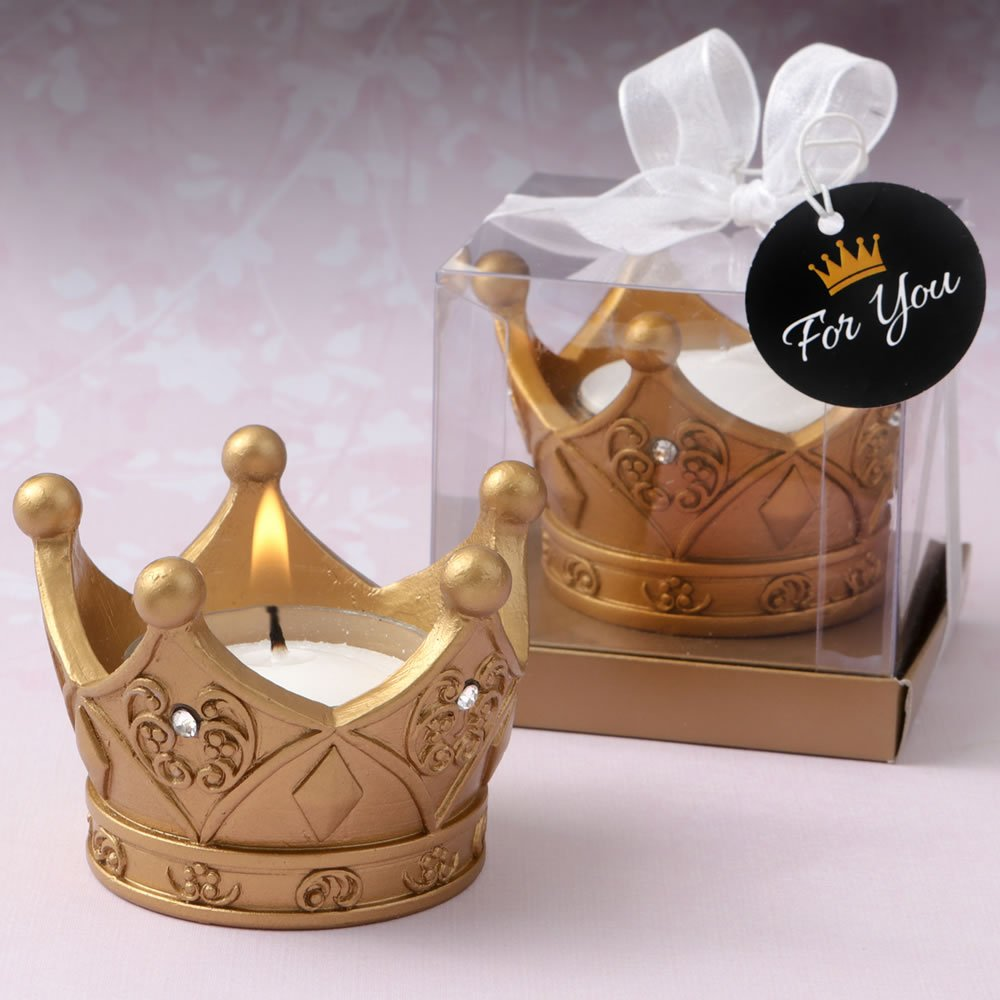 Fashioncraft 47 Poly Resin Royal Gold Crown Tea Light Candle Wedding Anniversary Bridal Shower Baby Shower Birthday Party Souvenir Favors