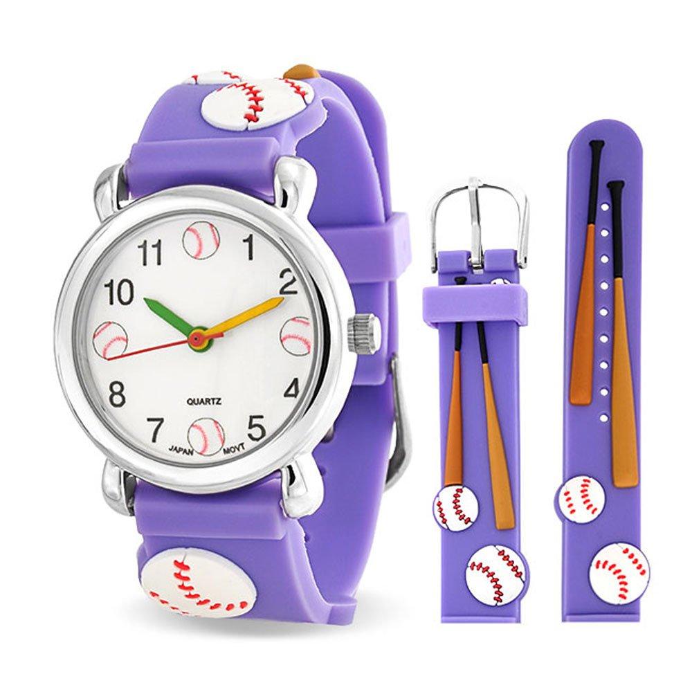 Bling Jewelry Purple Analog Baseball Sports Childrens Watch Steel Back