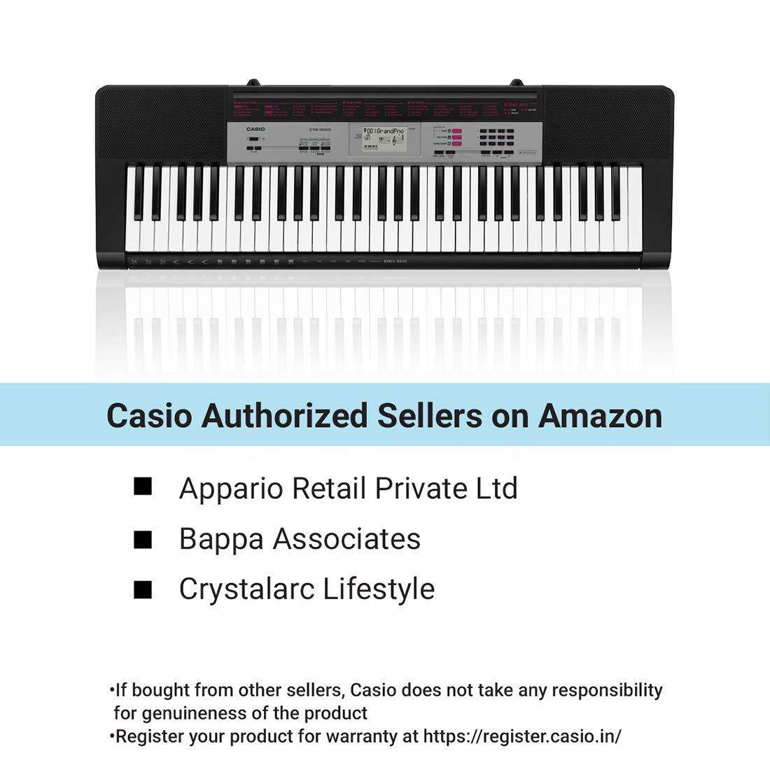 Casio Teclado CTK-1500, 61 teclas estándar