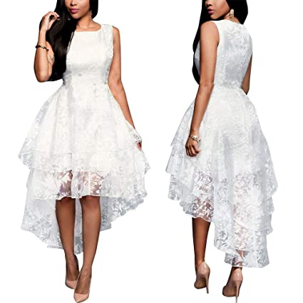 ed779a810d8ab Ladies Evening Prom Dresses Women Sleeveless White Organza High Low ...