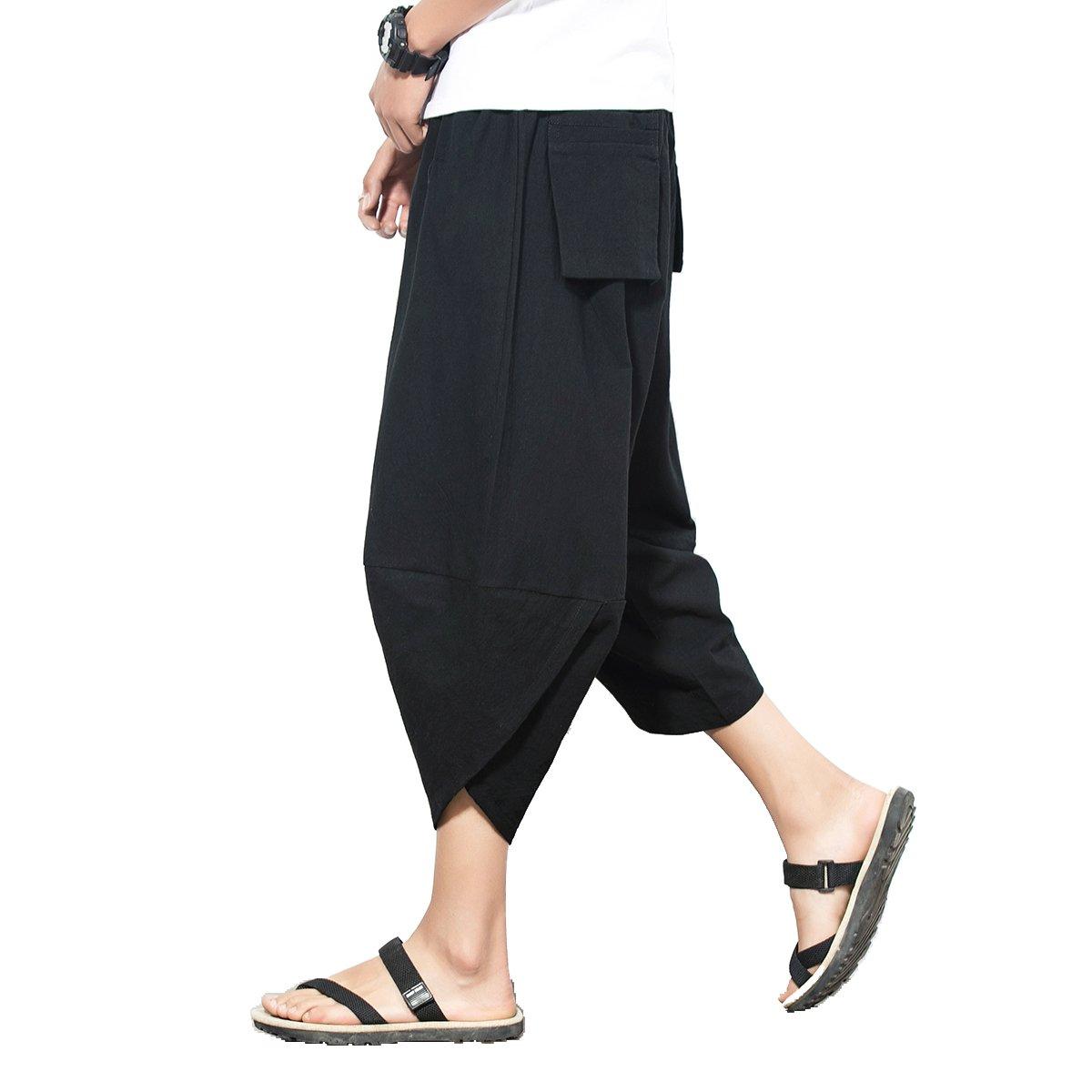 FTIMILD Mens Boho Harem Pants Cotton Baggy Wide Leg Pants Trousers with Pockets