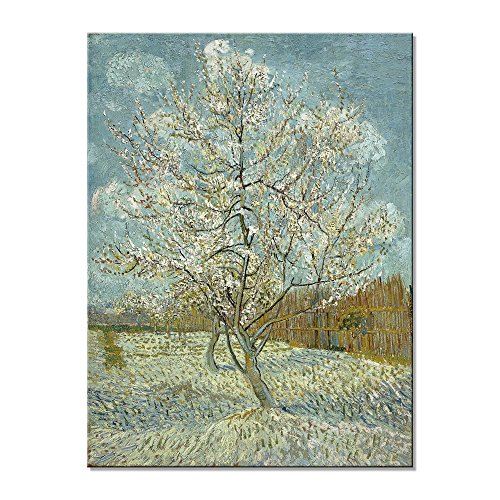 Famous Art Reproductions - Wieco Art The Pink Peach Tree by Van Gogh Famous Oil Paintings Reproduction Large Modern Stretched and Framed Landscapes Artwork Classic Pictures Giclee Canvas Prints Wall Art for Home Decor