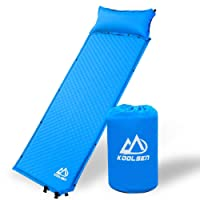 KOOLSEN Camping Sleeping Pad Self Inflating with Attached Pillow Lightweight Air Sleeping Pads for Outdoor