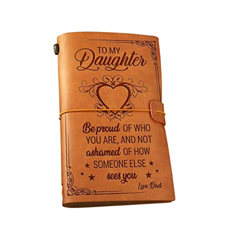 Amazon com: Leather Journal - Dad to Daughter Proud of Who