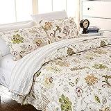 MAXYOYO Cotton 3 Piece Beautiful Floral Quilt Set,Girls Quilt Throw,Cotton Bedspreads Full/Queen Size