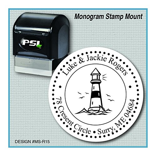 Personalized Lighthouse Return Address Monogram Stamp, - Address Tower Water
