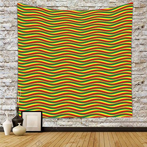 Polyester Tapestry Wall Hanging,Rasta,Vivid Colors Ethiopian African Flag Colors in Wavy Style Stripes Image,Marigold Green and Red,Wall Decor for Bedroom Living Room Dorm (Rasta Big Stripes)