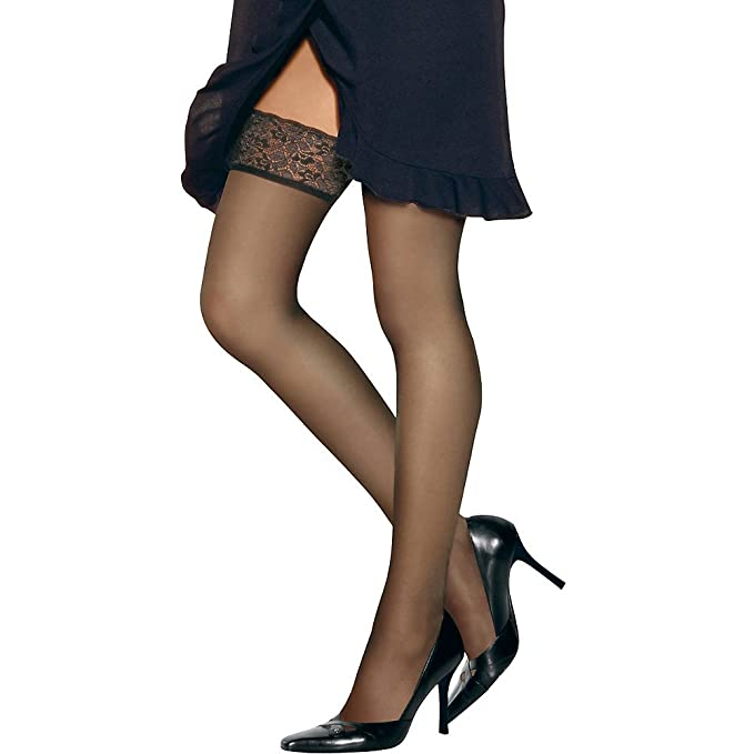Hanes Women`s Set of 3 Silk Reflections Lace Top Thigh Highs CD ... 45aa5e72a