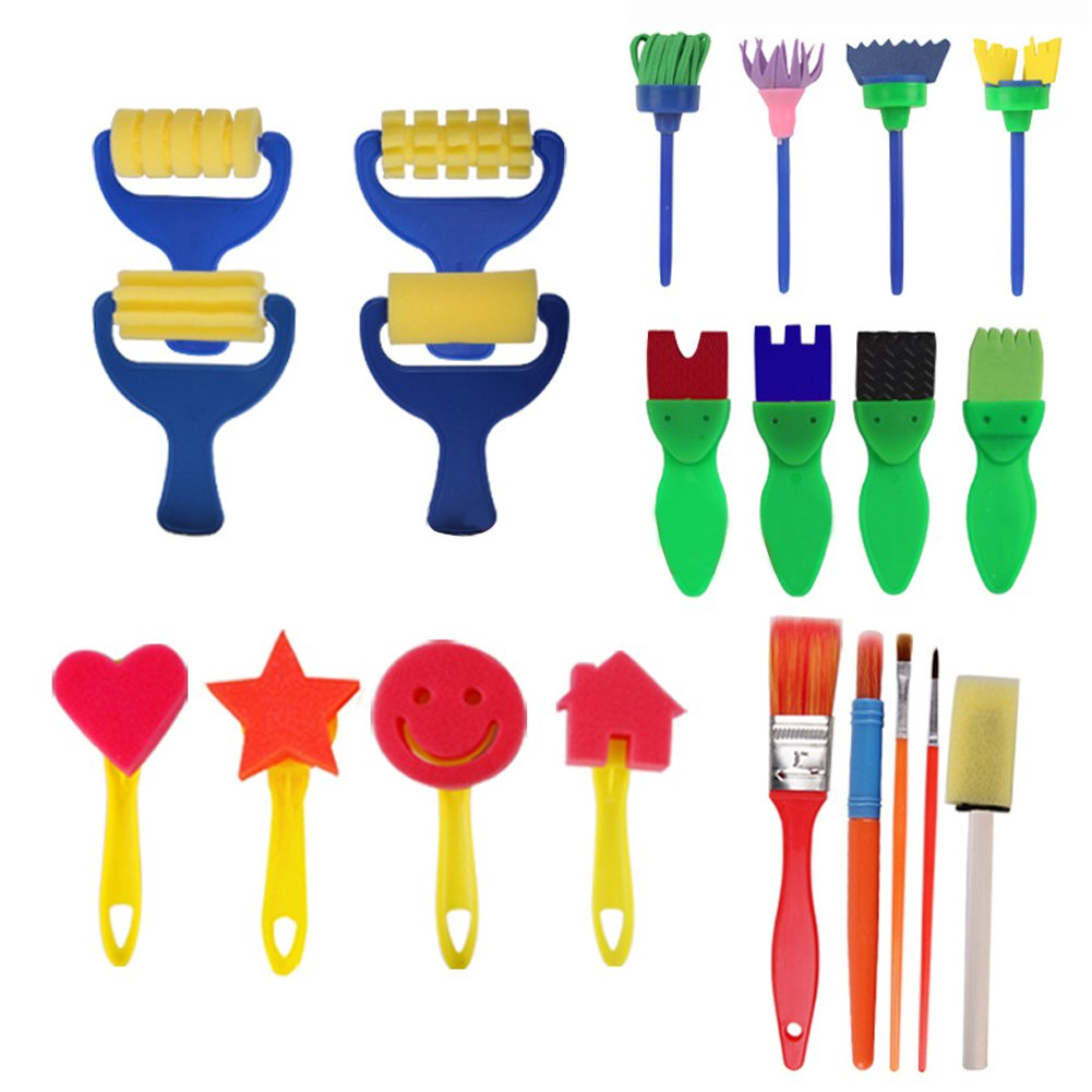 FEOOWV 21PCS Children's Kids Creative Sponge Paint Brushes Set Art Craft Painting Brushes Set for Early Learning (A) 4336957169