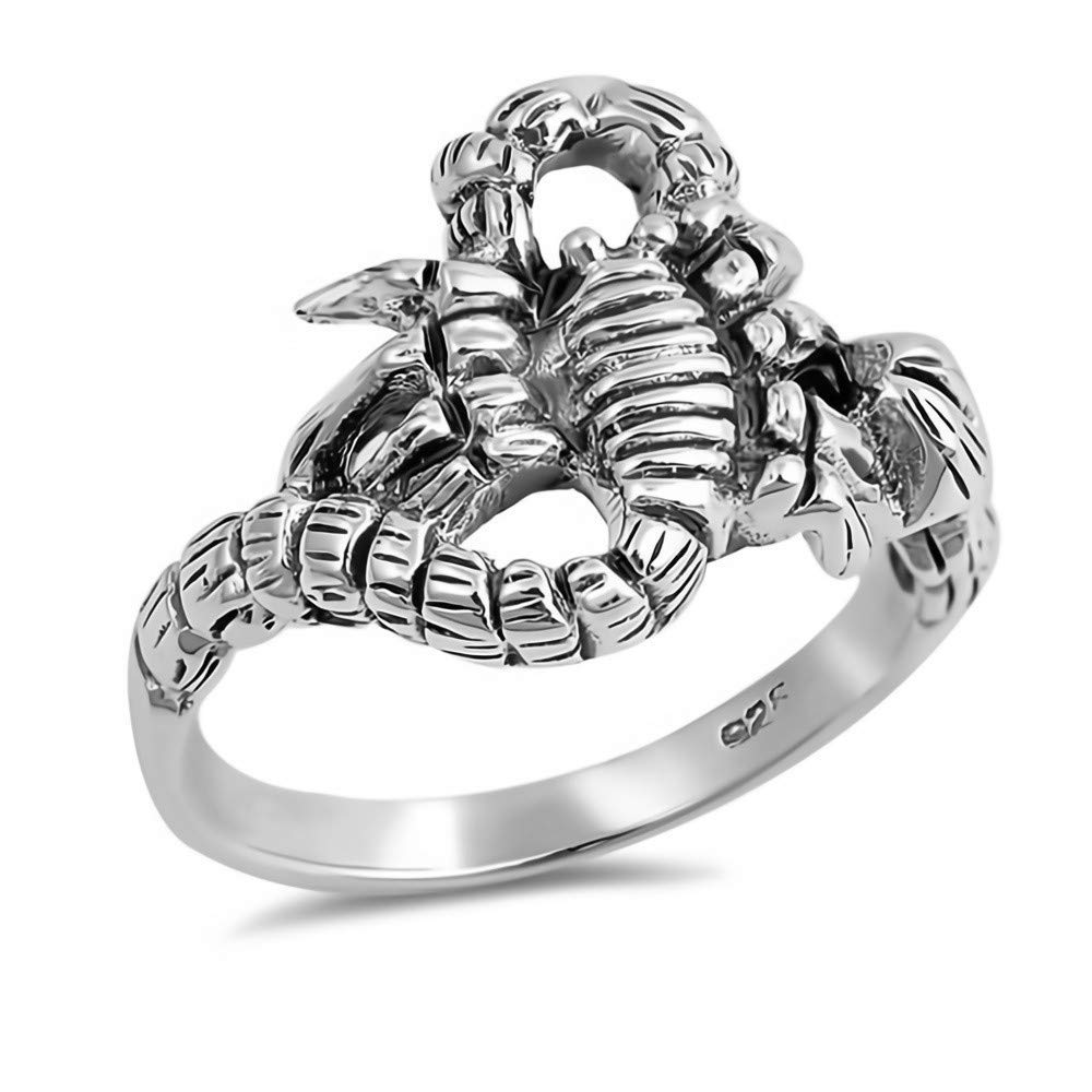 Cute Jewelry Gift for Women in Gift Box Scorpion Glitzs Jewels 925 Sterling Silver Ring