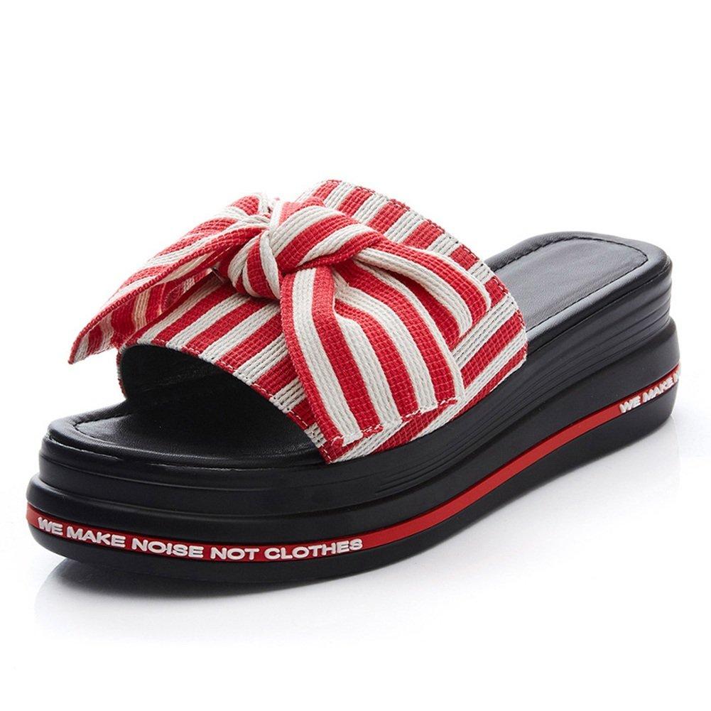 LIXIONG zapatillas Hembra verano Ropa exterior Moda Nudo mariposa Fondo de pastel de pino Fondo grueso zapato, Altura del talón 5cm, 4 colores -Zapatos de moda ( Color : #2 - Red , Tamaño : EU37/UK4.5/CN37/235 ) EU37/UK4.5/CN37/235|#2 - Red