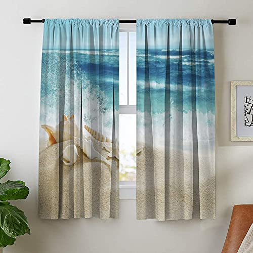 Misscc Room Darkening Blackout Curtains for Bedroom Living Room Kitchen Cafe, Landscape with Shells on Tropical Beach and Splashing Waves, 52 x 95 Inch Light Blocking Print Window Curtains 2 Panels