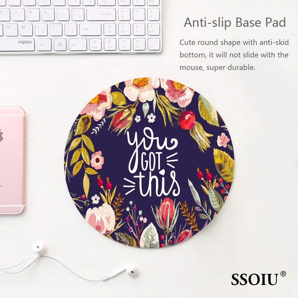 Vintage Colored Floral Wreath Motivational Inspirational Quotes Navy Blue Funny Circular Mouse Pads SSOIU You Got This Quote Cute Round Mouse Pad