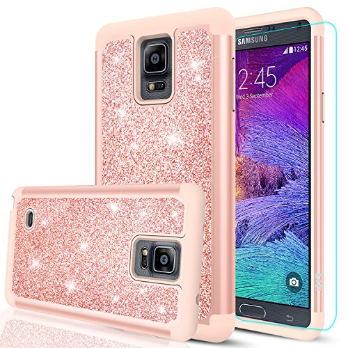 Note 4 Glitter Case with HD Screen Protector,LeYi Bling Cute Girls Women [PC Silicone Leather] Dual Layer Heavy Duty Protective Case for Samsung Galaxy Note 4 TP Rose Gold ()
