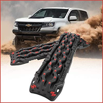 DEFEND INDUST Recovery Tracks - 2 Pcs Black Traction Boards for Off-Road Mud, Sand,Snow Vehicle Extraction Track Tire Ladder 4X4 Traction Mat,Mud Tires: Automotive