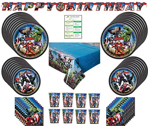 Marvel Avengers Party Supplies Pack: Big/Small Plates, Cups, Napkins, Table Cover, Banner-16 Guests (Ironman Birthday Party Decoration)