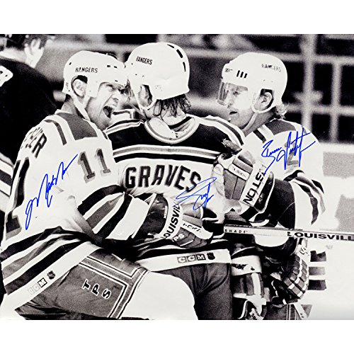 Adam Graves/brian Leetch/mark Messier Triple Autographed Black and White Celebration Horizontal 16 inch x 20 inch (Mark Messier Autographed Photo)