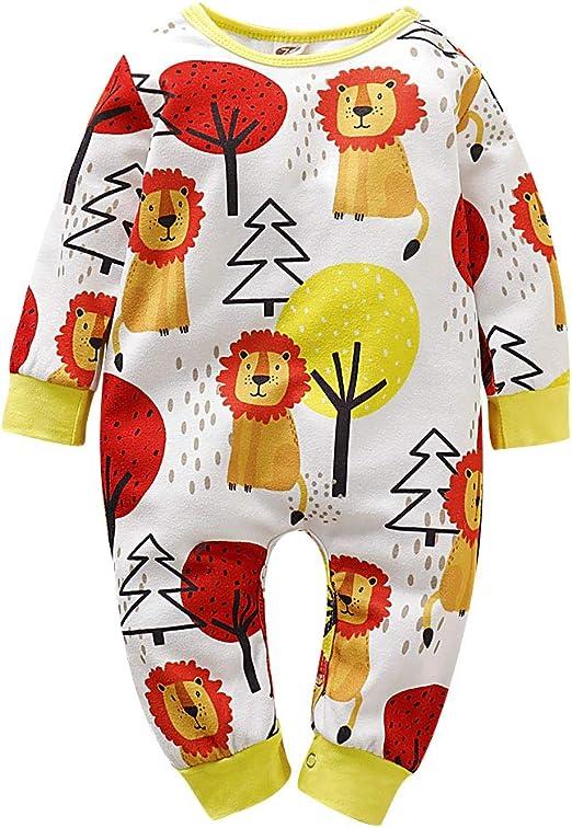 Newborn Baby Boys Girls Organic Cotton Cartoon Lion Printing Long Sleeve Jumpsuit Romper+Stripe Hat Outfits Set