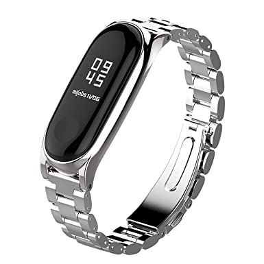 Mi Band 3 Straps Bracelet Replacement,Stainless Steel Metal Wrist Strap  Wristband WatchBand Accessories for Xiaomi Mi Band 3 Miband 3 (Metal Silver)