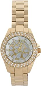 Sunex Women's White Analog Gold Dial Watch S6508GW